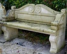Antique Bench in Burgundy stone